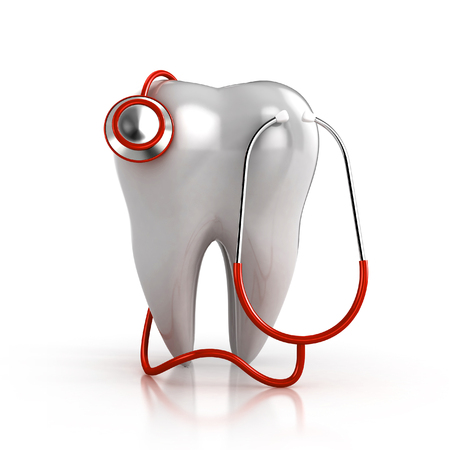 red stethoscope: 3d RED stethoscope with a tooth isolated Stock Photo