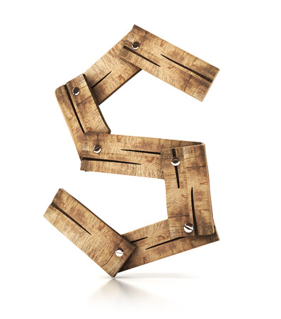 children s art: Single wooden S letter isolated on the white background. 3d illustration. wooden font.