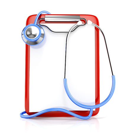 diagnose: Blank medical clipboard and stethoscope, isolated on white background. 3d illustration Stock Photo