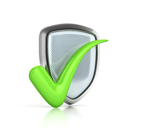 Shield Icon with Check Mark. protect 3d concept