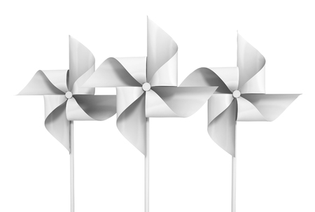 wind mill toy: paper pinwheel toy isolated on white. 3d illustration