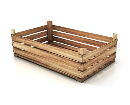 boxed: wooden crate. 3d illustration isolated on white Stock Photo