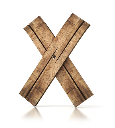 Single wooden X letter isolated on the white background. 3d illustration. wooden font.
