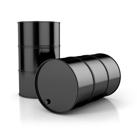 natural gas prices: oil barrels isolated on white background. 3d illustration