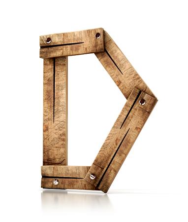 attach         â     â       ©: Sola letra de madera de D aislada en el fondo blanco. Ilustración 3d fuente de madera.