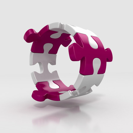 puzzle pieces in circle shape. team work concept. 3d illustration isolated Stock Photo