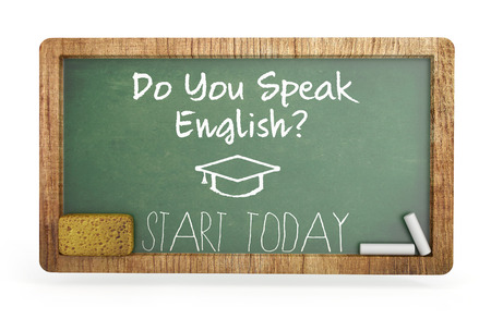 old english: Chalkboard, English learning concept. 3d illustration Stock Photo