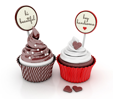cupcakes. love concept with gift cards. 3d illustration