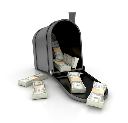 Mailbox with money. 3d illustration isolated on white background