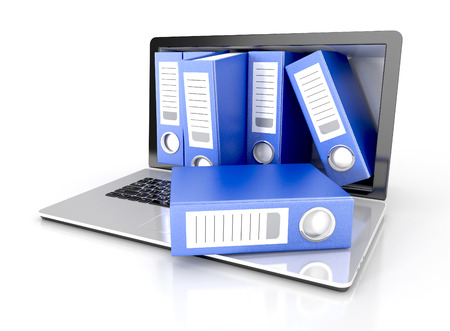 computer data: files in database - laptop with ring binders. 3d illustration isolated on white background Stock Photo