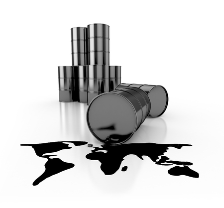 catastrophe: oil spill in planet shape and barrels. 3d illustration isolated on white Stock Photo