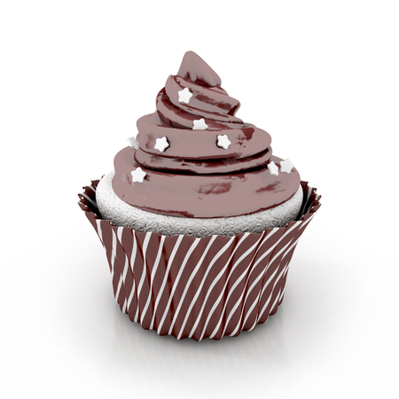 chocolate cupcake: chocolate cupcake 3d illustration - dessert isolated on the white background