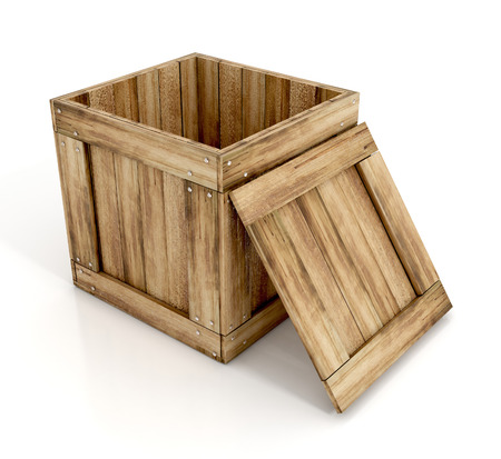 wooden crate: open wooden crate. 3d illustration isolated on white background Stock Photo