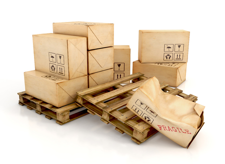 Cargo, delivery and transportation industry concept. Cardboard boxes on wooden pallets with one damaged package, isolated on white background. 3d illustration Stock Photo