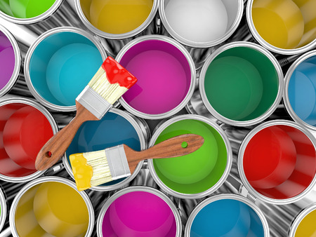 metal paint cans with colorful paint and paintbrush, painting concept. 3d illustration