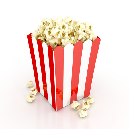 popcorn cinematography concept. 3d illustration isolated on white background
