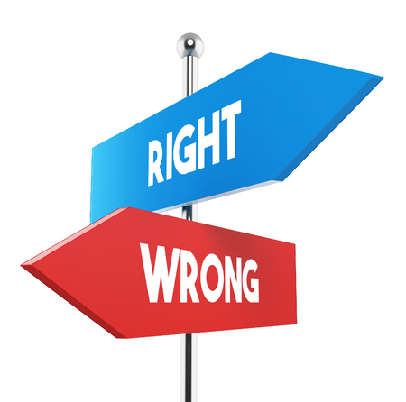 two road signs - right wrong choice Stock Photo