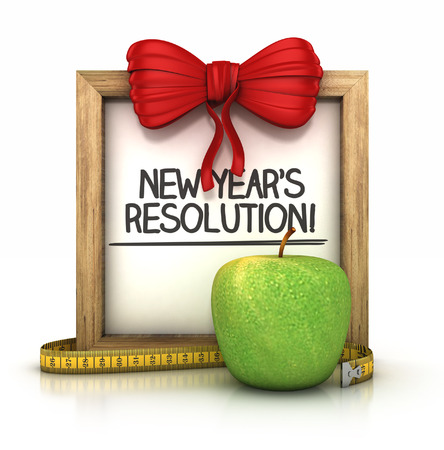 new years resolution: wooden signboard with New years resolution note. 3d illustration isolated on white