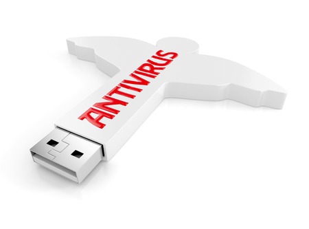white antivirus usb flash drive in angel shape concept. 3d illustration isolated on white background. Stock Photo
