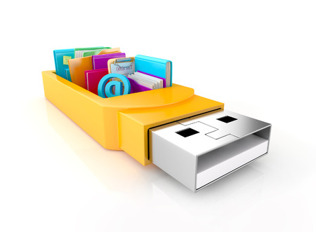 usb flash drive with folders, books, check list, sticky note, and tools, isolated on white background. 3d image Stock Photo