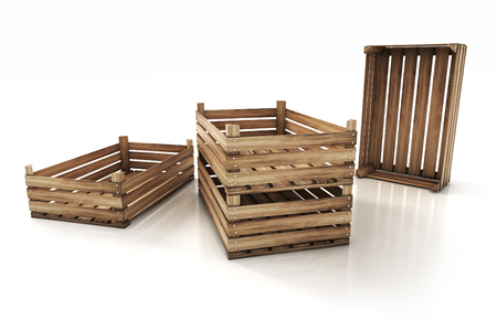 boxed: wooden crates isolated on white background. 3d render illustration