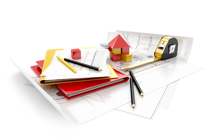 housing project: house with measure tape, pencils, folders, and other tools on architect blueprints. Housing project. 3d illustration Stock Photo