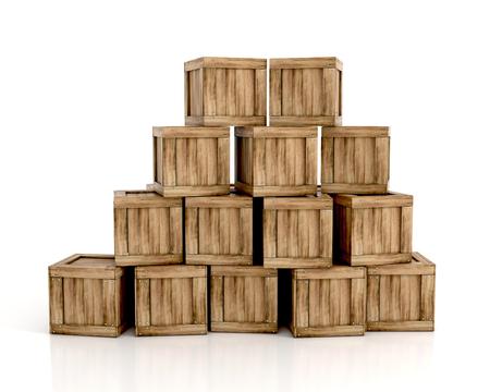 Houten kisten op een witte achtergrond. 3d illustratie Stockfoto