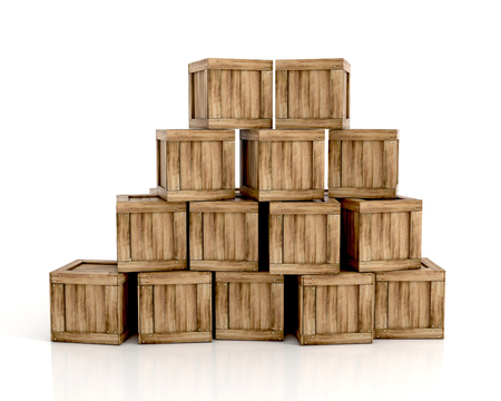 Wooden crates isolated on white background. 3d illustration