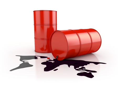 spill: oil spill in planet shape and barrels. 3d illustration isolated on white Stock Photo