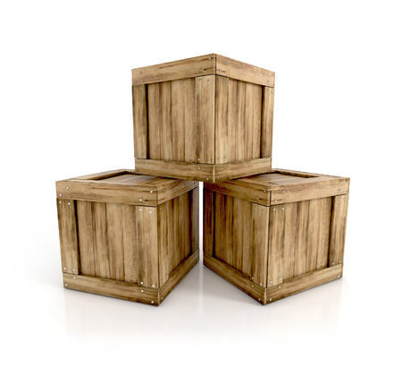 boxed: wooden crates isolated on white background. 3d render illustration.