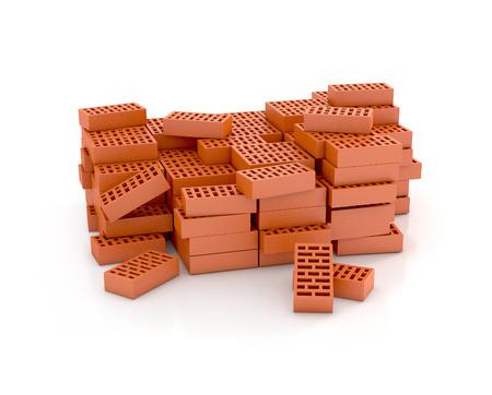 masonry: bricks on white background Stock Photo