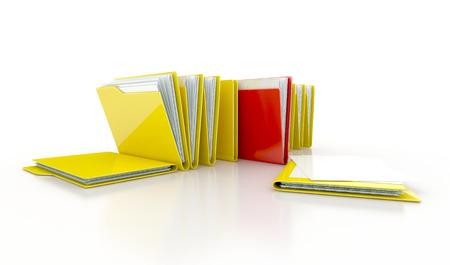 shortcut: folders in a row. 3d concept