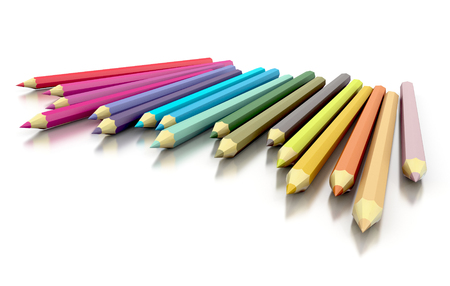 multicolor pencils isolated on white. 3d concept