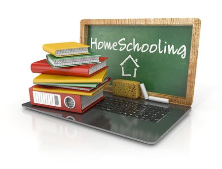 homeschooling: Homeschooling Concept. Laptop with books, chalkboard, chalk and sponge. 3d illustration