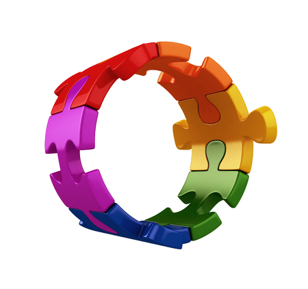colorful puzzle pieces in lgbt colors. 3d illustration Stock Photo