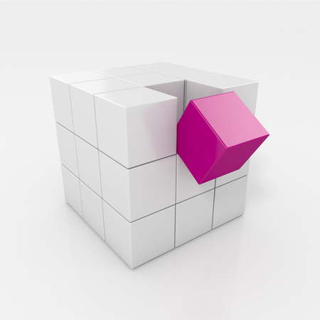 falling cubes: Cube made from shiny white cubes with one cube falling. 3d illustration isolated
