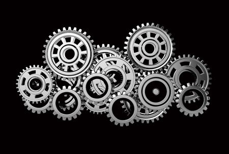 large group of objects: gears isolated on black background. 3d render