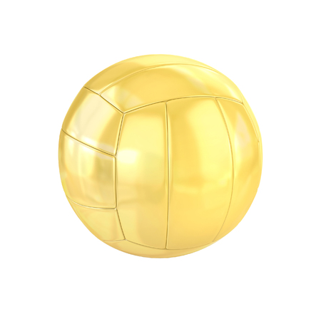 Golden Volleyball isolated on white. 3d illustration Stock Photo