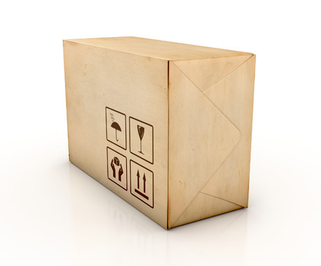stockpile: Cardboard box. Delivery concept. 3D Iillustration isolated on white background