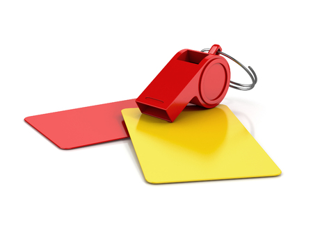 gele en rode kaart, en een fluitje geïsoleerd op een witte achtergrond. voetbal concept. 3D illustratie Stockfoto