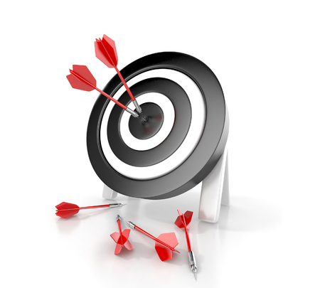 Darts hitting a target. 3d concept Stock Photo