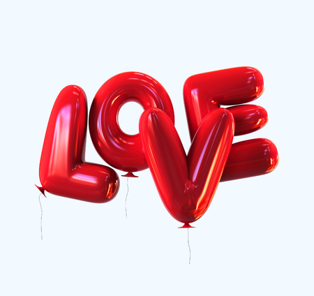 red balloons: Red LOVE Balloons with glossy reflections isolated. 3d rendering
