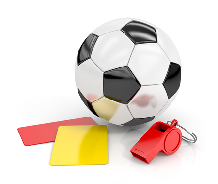football (soccer ball), whistle and red and yellow cards isolated on white background. football concept. 3d render illustration Stock Photo