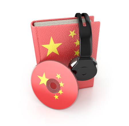 audio book: Chinese language learning concept with cd, book and headphones. 3d render. Audio Book