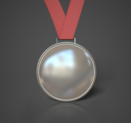 silver medal: Silver Medal isolated on grey background. 3d illustration Stock Photo