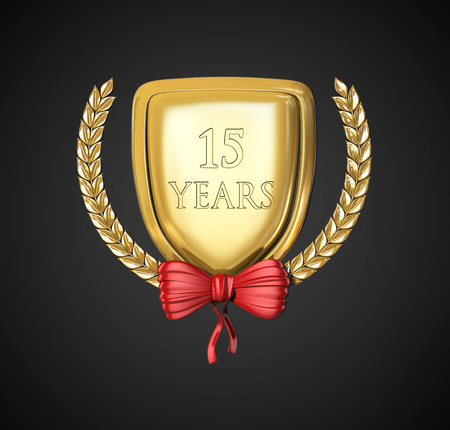 fifteen year old: laurel wreath 15 years. Anniversary Concept. 3d render illustration isolated on black background