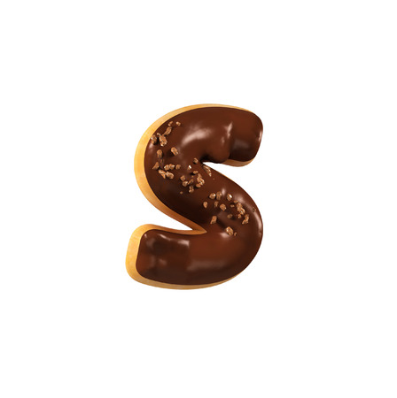 Chocolate Donut Font Concept. Delicious Letter S. 3d rendering isolated on white background
