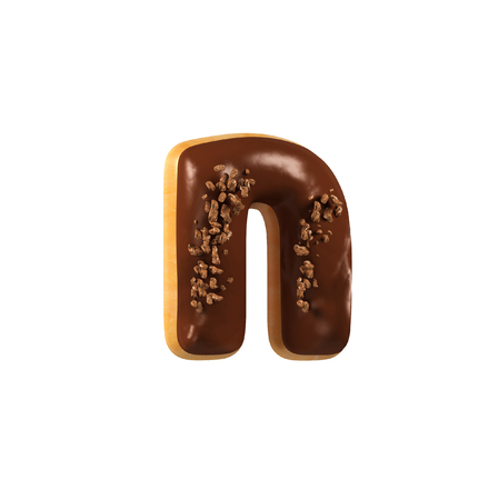 Chocolate Donut Font Concept. Delicious Letter N. 3d rendering isolated on white background