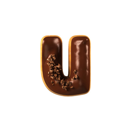 Chocolate Donut Font Concept. Delicious Letter U. 3d rendering isolated on white background