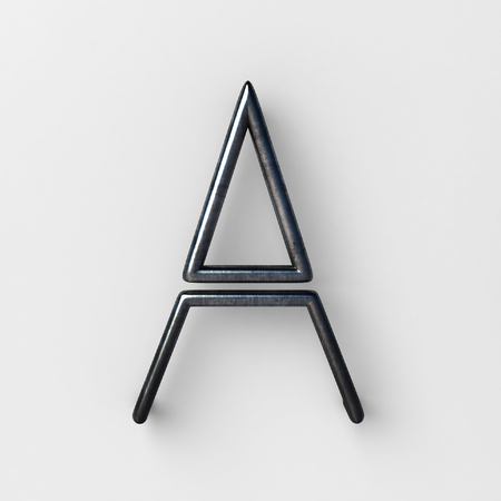 3d realistic Wire Font with shiny reflection and soft shadows. Letter A. 3d rendering isolated. Stock Photo